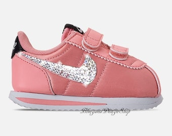 e727a7ba7d34 Bling Toddler Swarovski Nike Cortez Basic Shoes Customized with Swarovski  Rhinestones