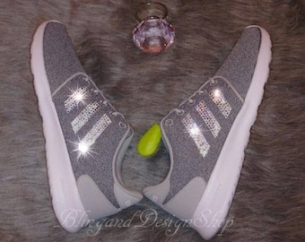 Swarovski Adidas Shoes Neo Cloudfoam QT Racer Womens Shoes Customized with  Crystal Rhinestones Bling Adidas Shoes 08b0b3515