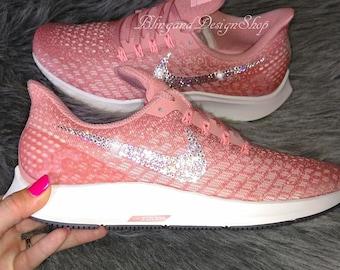 12e32bd4172b Swarovski Bling Nike Women s Air Zoom Pegasus 35 Shoes with Crystal  Rhinestones Custom Running Tennis Shoes Authentic New in Box