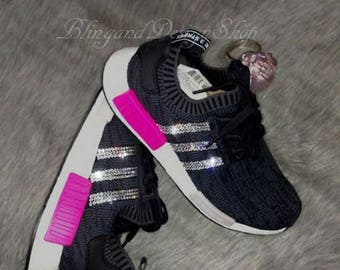 new concept d1756 5be15 Swarovski Bling Adidas NMD XR1 Primeknit Pink Black Women s Adidas Shoes  Customized with Swarovski Crystal Rhinestones, Sneakers