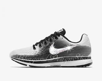7c841c7afac18 Swarovski Nike Air Zoom Pegasus 34 LE Women s White Black Nike Shoes  Customized with Swarovski Crystal Rhinestones