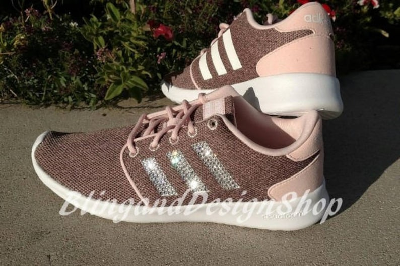 f142625a1885d Swarovski Bling Adidas Shoes Neo Cloudfoam QT Racer Womens