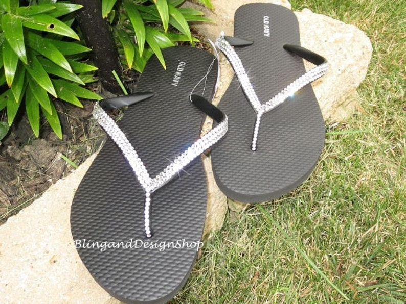 bbfd39fa0dc3f Swarovski Womens Flip Flops Customized with Swarovski Crystals, Wedding  Sandals, Bridal sneakers