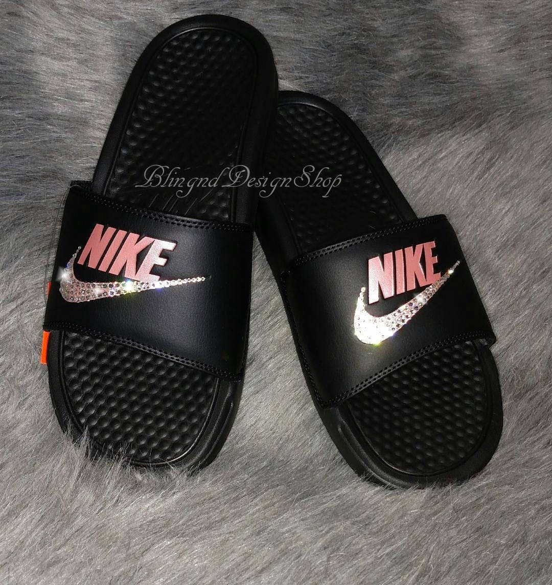 cheap for discount 66589 c7ff1 Swarovski Bling Nike Womens Benassi Nike Sandals Customized ...