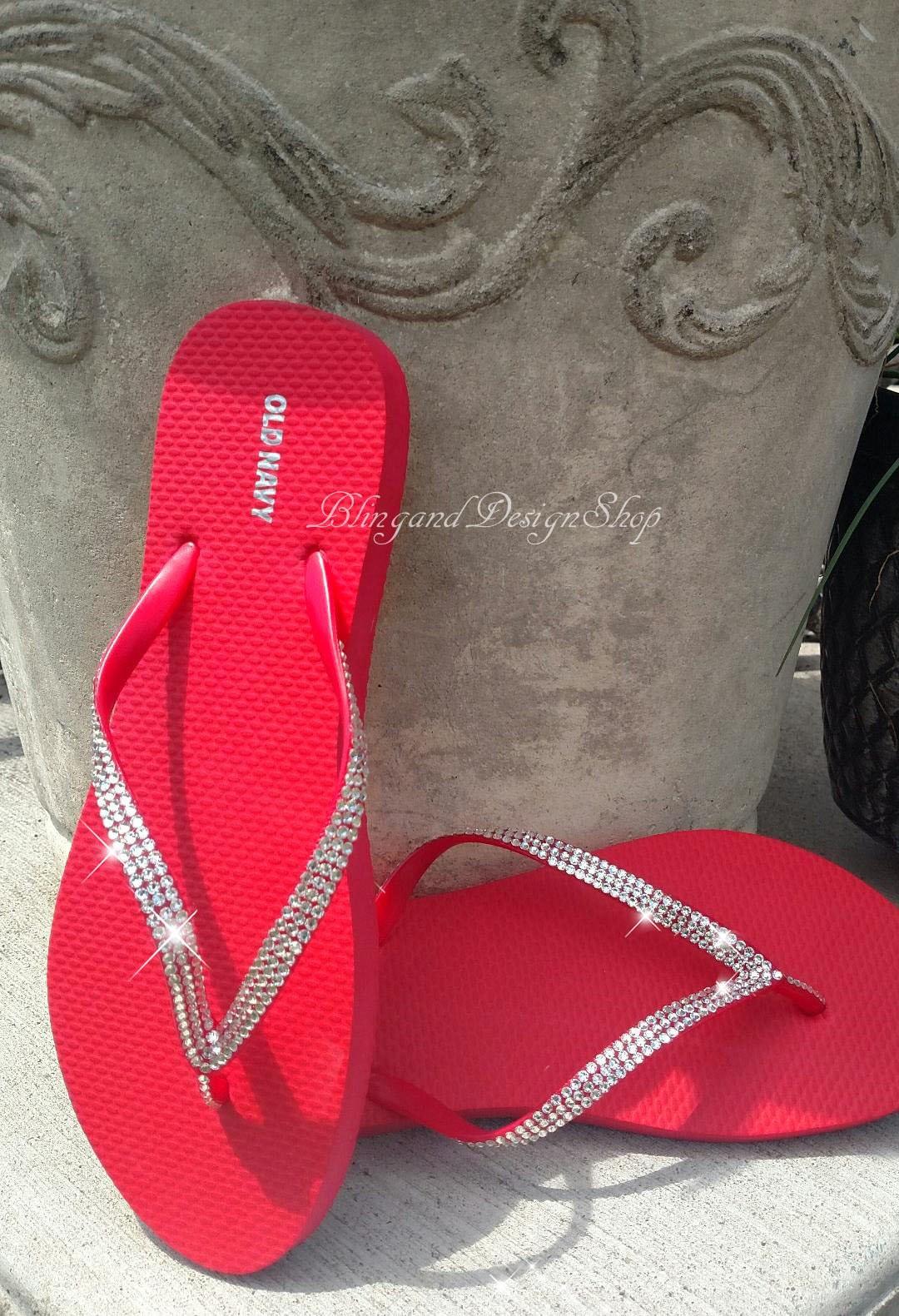 Swarovski Womens Sandals Flip Flops Customized with
