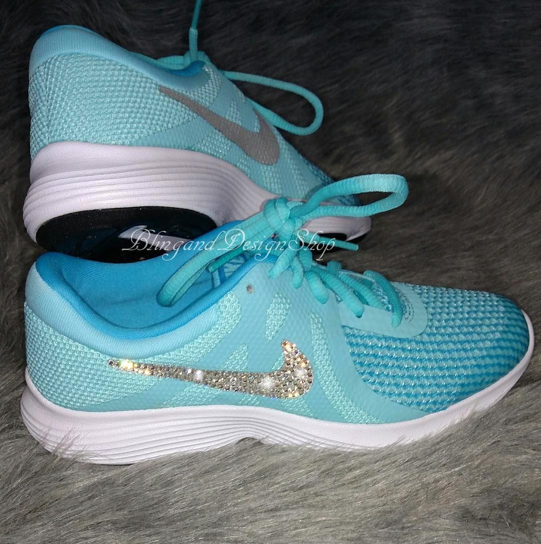 Swarovski Bling Nike Shoes Revolution 4 Girls Nike Shoes Custom with Swarovski  Crystal Rhinestones b2ca36c9cfff
