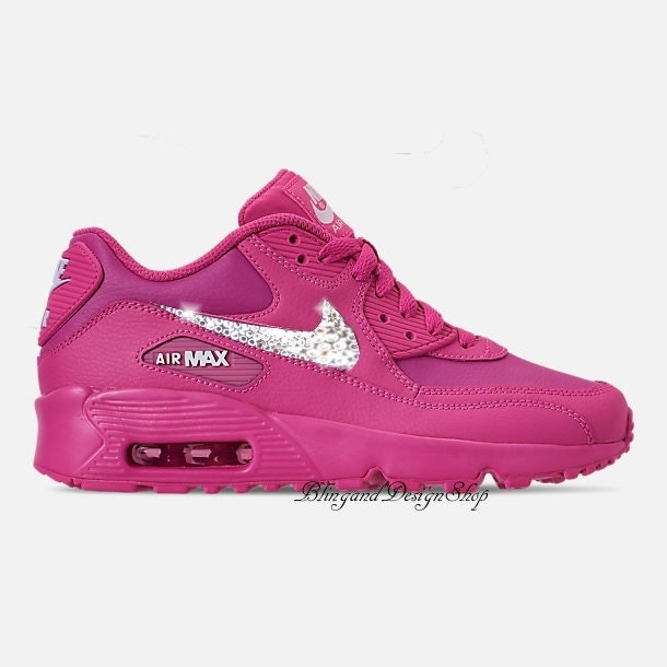 Swarovski Nike Girls Pink Air Max 90 Leather Customized With Swarovski Crystals  Bling Nike Shoes 629646de9