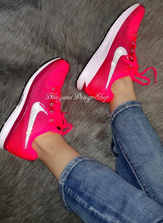 Swarovski Bling Nike Air Zoom Pegasus 34 Women's Shoes Customized with Crystal Rhinestones