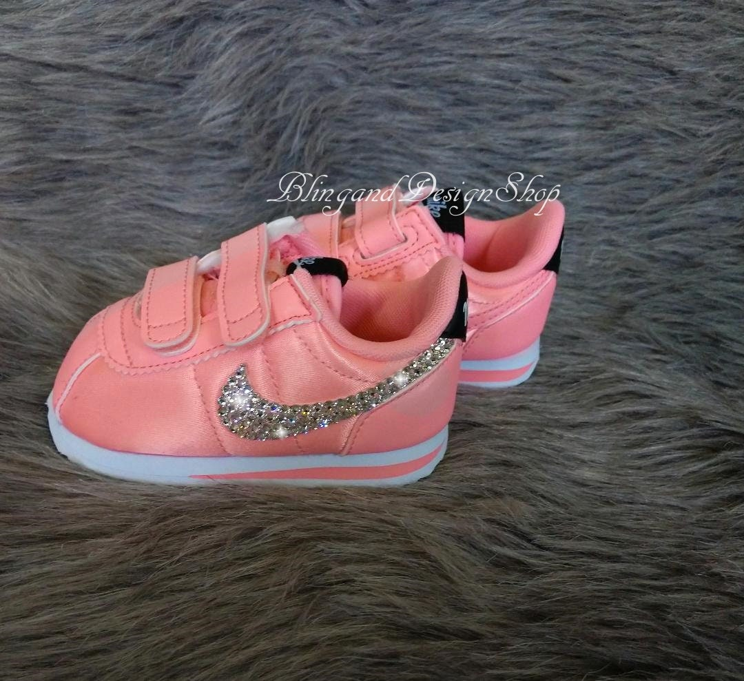 2c96a0d644f47 Swarovski Bling Nike Cortez Basic Baby Girl Shoes Customized with ...