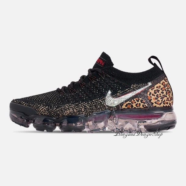 813d05ef499d Swarovski Leopard Nike Shoes Vapormax Flyknit 2 Womens Shoes Customized  with Crystal Swarovski Rhinestones Bling Nike Shoes
