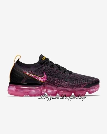 Swarovski Nike Shoes Vapormax Flyknit 2 Womens Shoes Custom with Fuschia Crystal  Swarovski Rhinestones Bling Nike Shoes e6eb153d7b