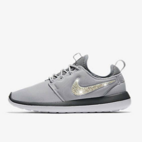 huge discount 9c572 2c27a Swarovski Nike Shoes Women's Nike Gray Roshe Two Print Customized with  Swarovski Crystal Rhinestones, Sneakers