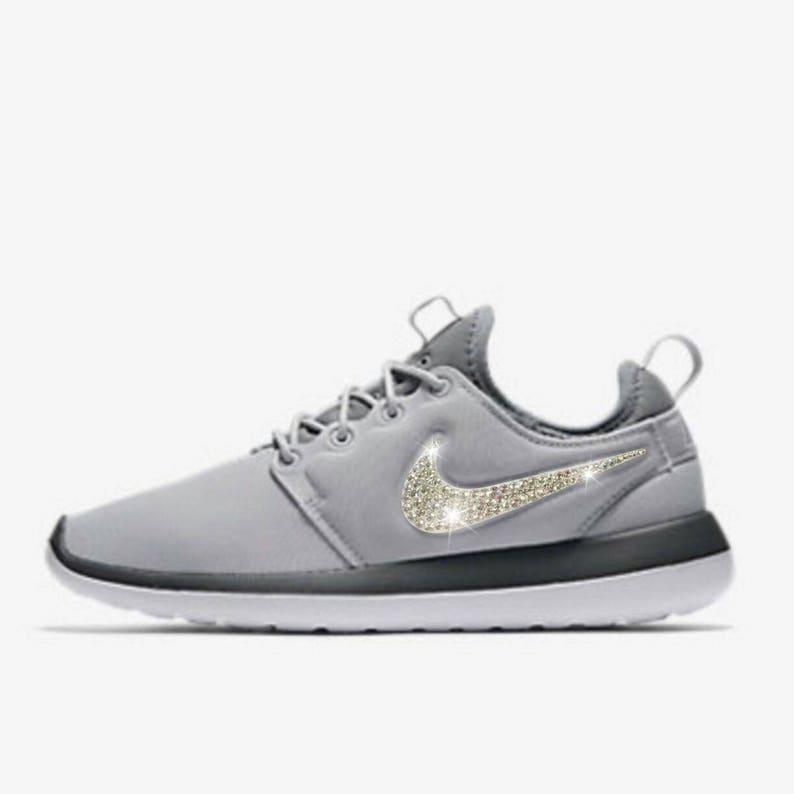huge selection of 1a521 32e45 Swarovski Nike Shoes Women s Nike Gray Roshe Two Print   Etsy