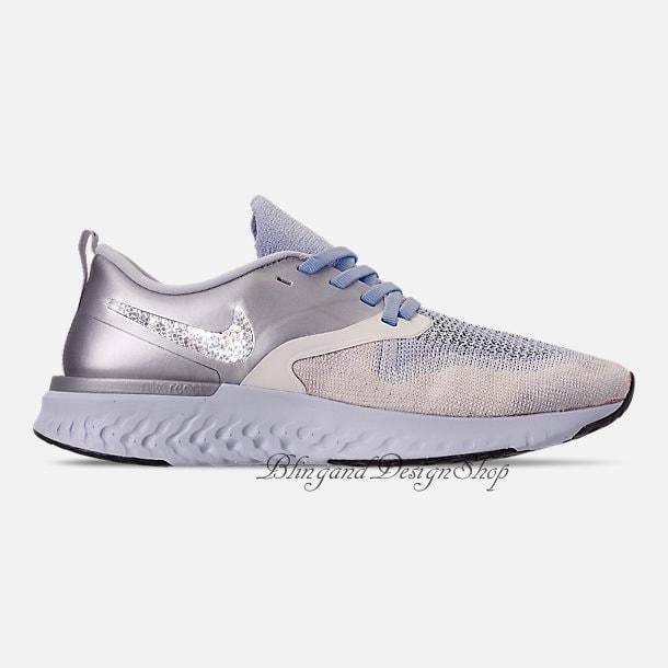 1dbad40ccc79 Swarovski Nike Bling Odyssey React Flyknit 2 Women s Nike Shoes Silver  Custom with Swarovski Crystals Rhinestones