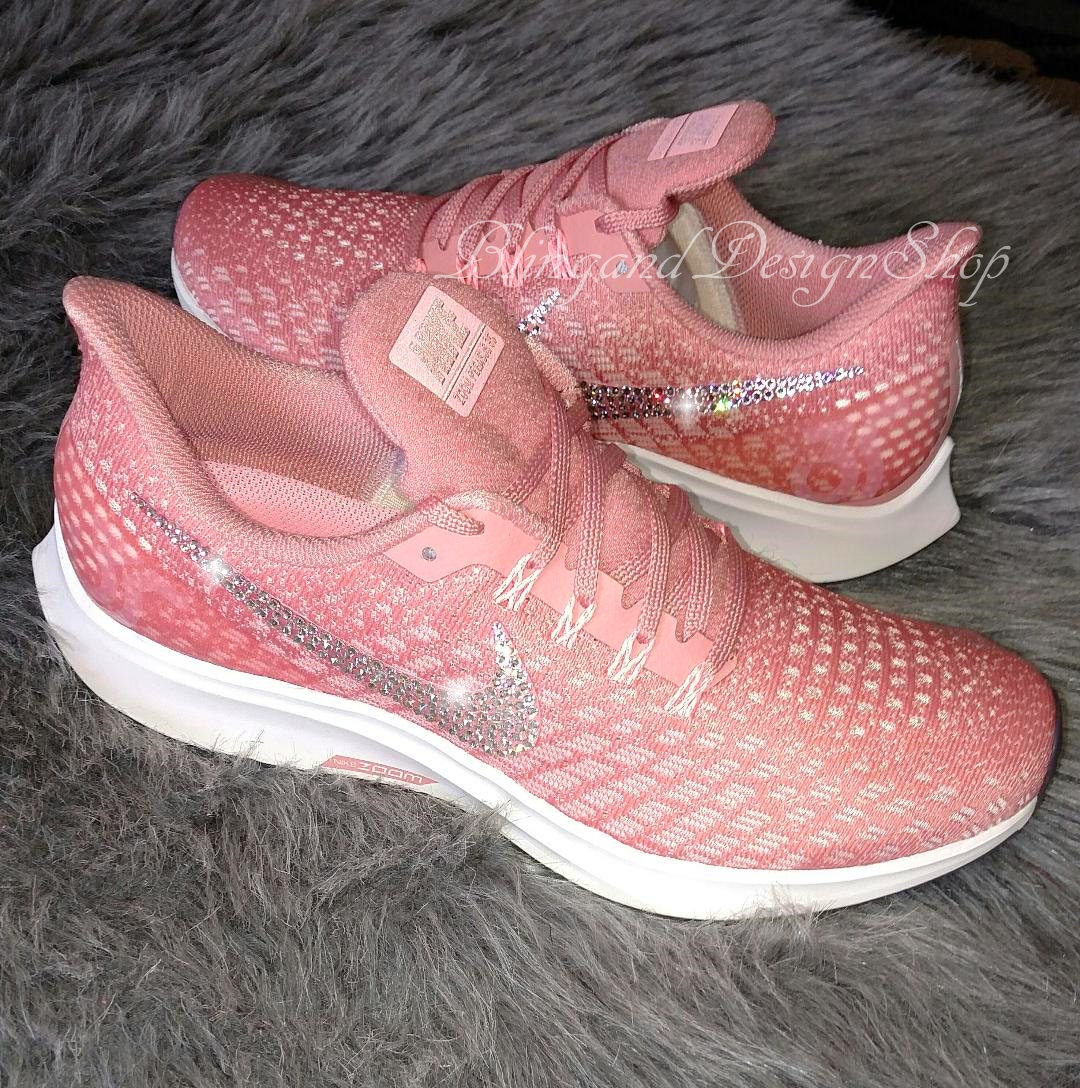 1b3d422f2eb74 Nike Swarovski Pink Women's Air Zoom Pegasus 35 Custom with ...