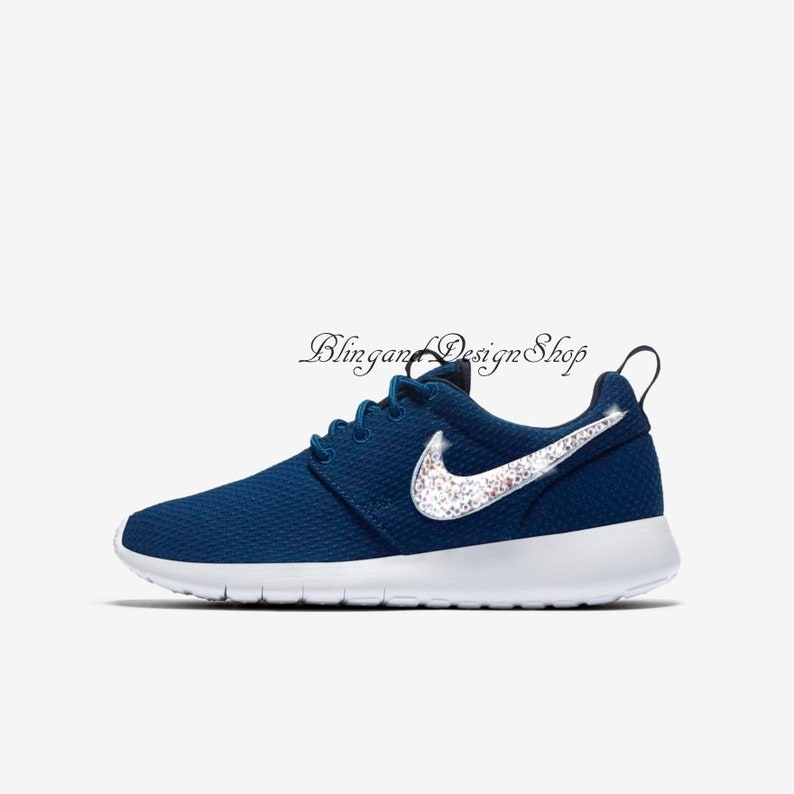 new arrival d5f3c fc2ab Swarovski Nike Shoes Roshe One Girls Womens Shoes Customized   Etsy
