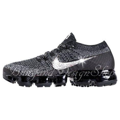 Swarovski Nike Shoes Women s Black Nike VaporMax Flyknit Customized with  Swarovski Crystal Rhinestones c0679f132