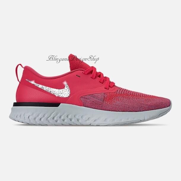 06a8a1a71 Swarovski Bling Nike Odyssey React Flyknit 2 Women s Red Nike Shoes Custom  with Swarovski Crystals Rhinestones