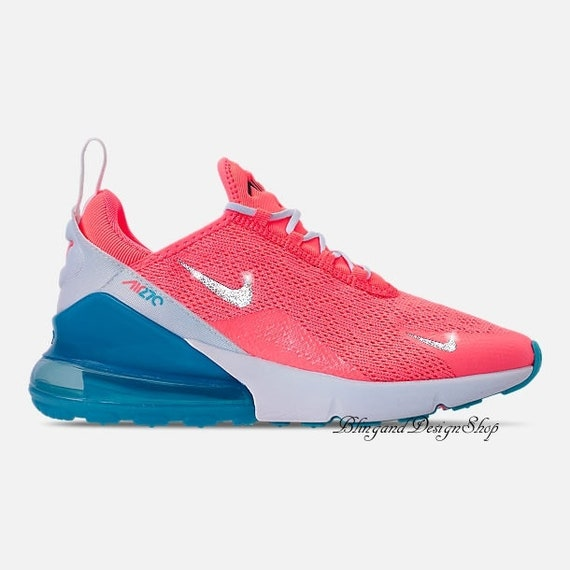 Swarovski Women's Nike Air Max 270 Pink Sneakers Customized with Clear Swarovski Crystals Custom Bling Nike Shoes
