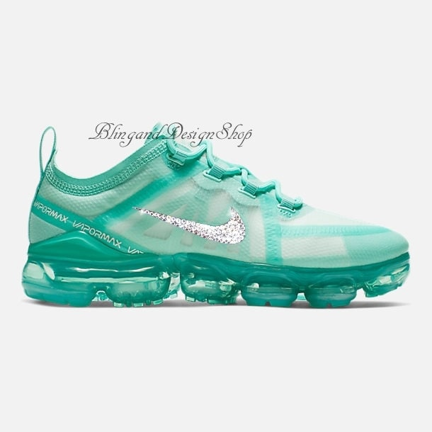 a5b52dbd152ce Bling Swarovski Nike Shoes Teal Air Vapormax 2019 Customized with ...