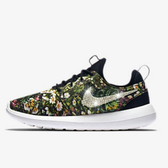 57d707c872cb ... order swarovski nike roshe two floral print nike shoe customized etsy  c9718 98060