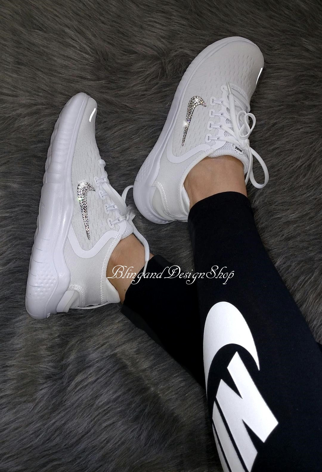 Swarovski Bling Nike Shoes Free RN 2018 Womens Nike Shoes Custom with Crystal  Rhinestones Bling Nike Shoes 71b06d5b7