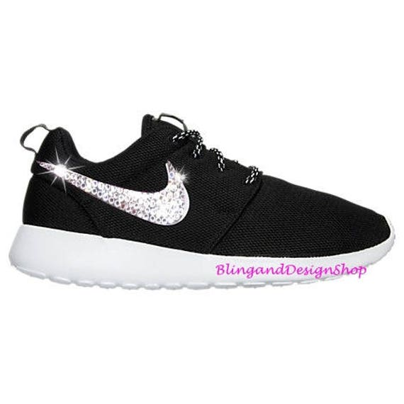 info for 05088 1d417 Swarovski Bling Nike Roshe One Women's Shoes Customized with Crystal  Rhinestones