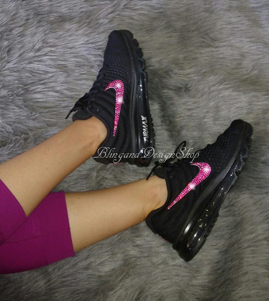 Swarovski Bling Nike Air Max 2017 Women s Nike Shoes Custom with Fuchsia  Swarovski Crystals Rhinestones 592d1529dd5e