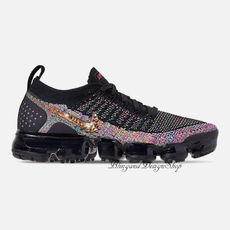 Bling Swarovski Nike Shoes Black Vapormax Flyknit 2  9bfa9bc3d934