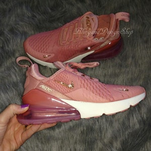 Swarovski Bling Nike Women s Air Max 270 Shoes with Rose Gold Swarovski  Custom Running Tennis Shoes Authentic New in Box 763e80c38