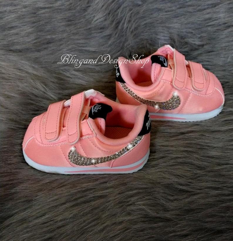 2cb86ffe66659 Swarovski Bling Nike Cortez Basic Baby Girl Shoes Customized with Crystal  Rhinestones, Bling Nike Shoes