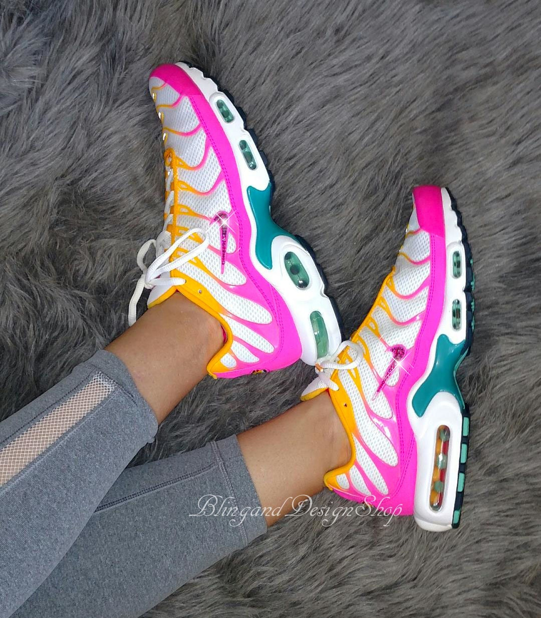 Details about Women's Custom Swarovski NIKE Air Max Thea Bling Shoes Size 8.5 US
