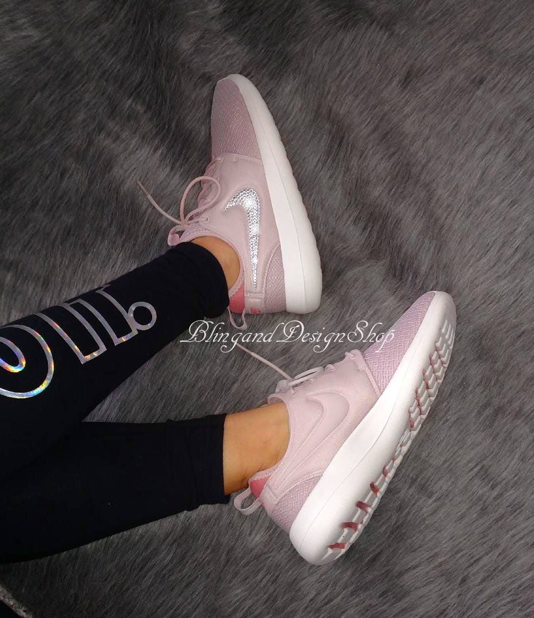 3287f49c1d55 Swarovski Bling Nike Roshe Two Women s Nike Shoes Custom with Swarovski  Crystal Rhinestones