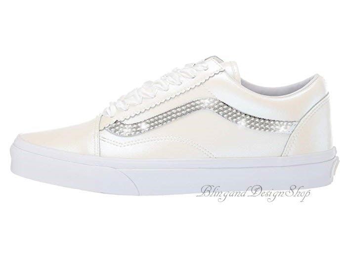 0f609e4e0b792 Womens Swarovski Pearl Vans Old Skool Skate Shoe Customized with ...