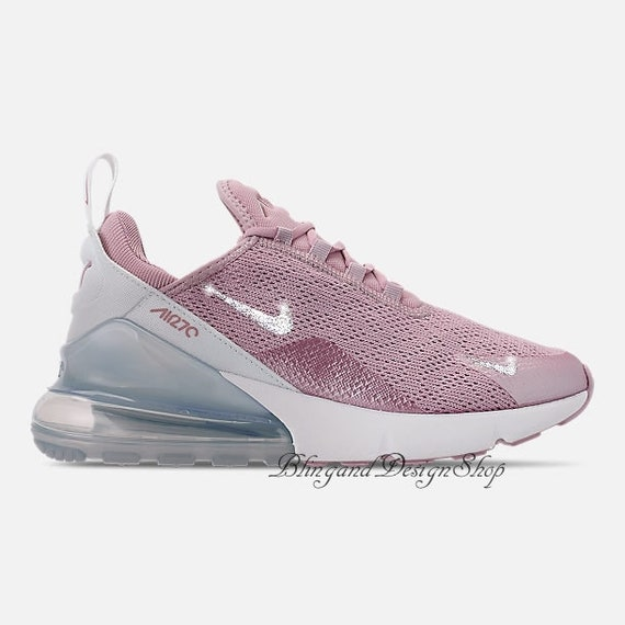Swarovski Women's Nike Air Max 270 Purple Sneakers Customized with Clear Swarovski Crystals Custom Bling Nike Shoes