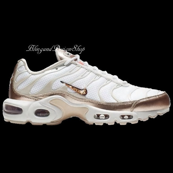 Swarovski Women's Nike Air Max Plus White Sneakers Customized with Rose  Gold Swarovski Crystals Custom Bling Nike Shoes