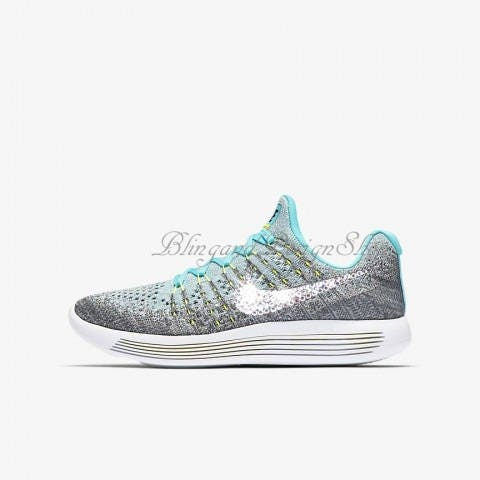 933819515ebe4 Swarovski Nike Shoes Girls Gray Nike LunarEpic Low Flyknit 2 Customized  with Bling Swarovski Crystals Rhinestones