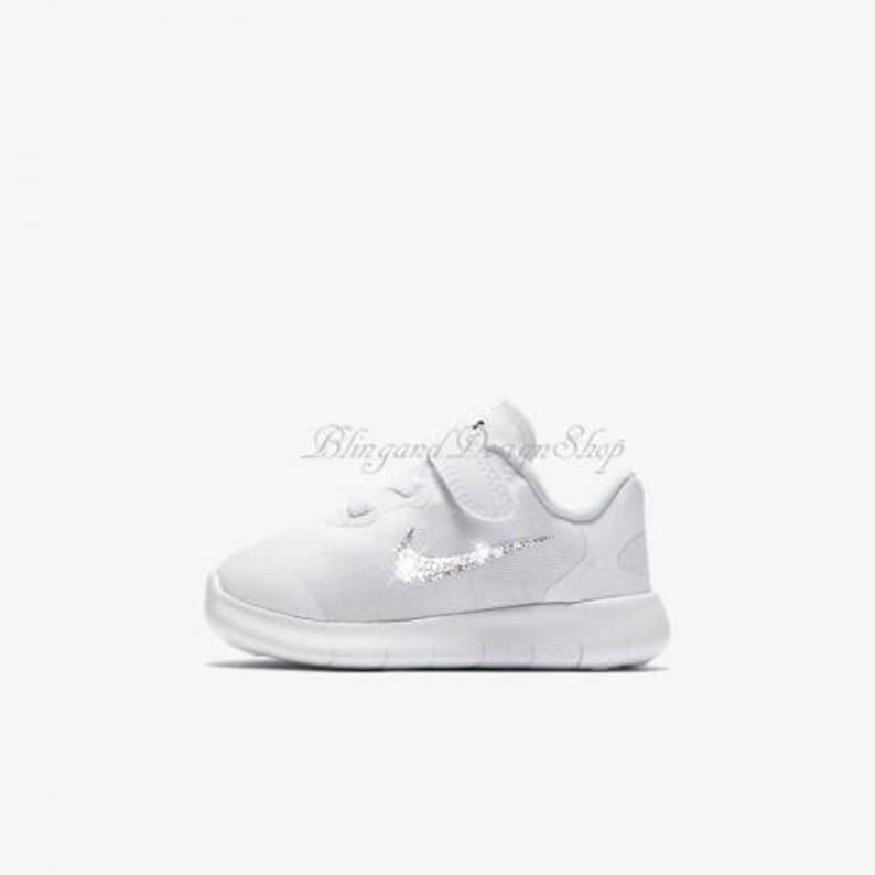 separation shoes 4b936 84989 Swarovski Nike Shoes Free RN 2017 Nike Girls Shoe Customized with Swarovski  Crystals Rhinestones, Baby, Toddler, Youth