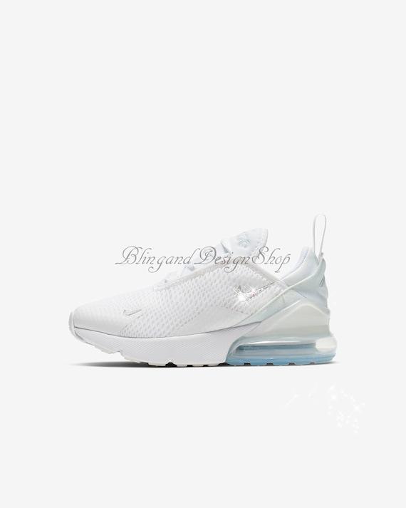 Swarovski Damen Nike Air Max 270 alle weißen Sneakers