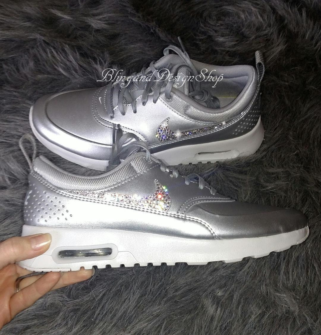 pretty nice 1ca64 cab9e Swarovski Nike Shoes Air Max Thea SE Women s Shoes Customized with Crystal  Swarovski Rhinestones Bling Nike Shoes, Bridal Shoes