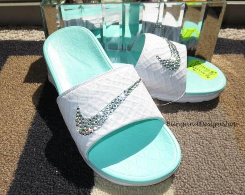 07277078cbcb Swarovski Bling Nike Women s Solarsoft Nike Shoes Benassi
