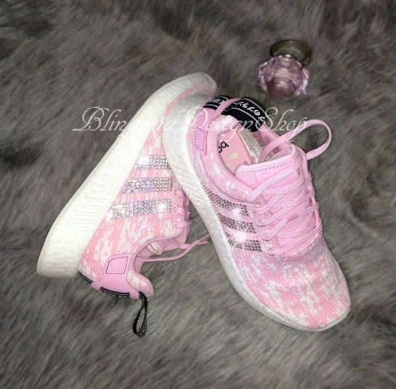 outlet store f895d 102d9 Swarovski Bling Adidas Shoes Women's Adidas NMD_R2 Originals Custom with  Swarovski Crystal Rhinestones, Sneakers