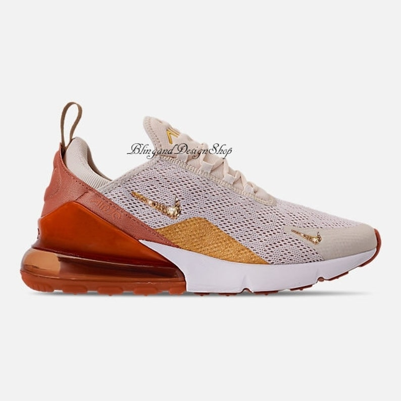 25d16f2a5aeb Swarovski Nike Air Max 270 Shoes Custom with Rose Gold