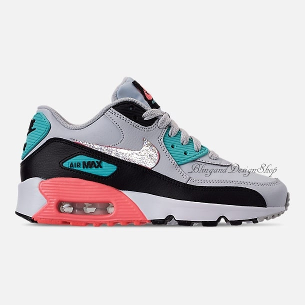 3f7a210cde7 Swarovski Nike Girls Pink Air Max 90 Leather Customized With Swarovski  Crystals Bling Nike Shoes
