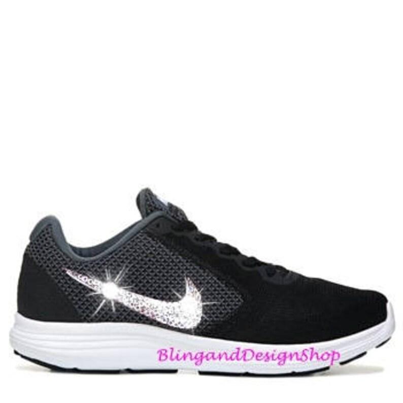 Swarovski Nike Shoes Women s Black Nike Revolution 3  4e0f91a27