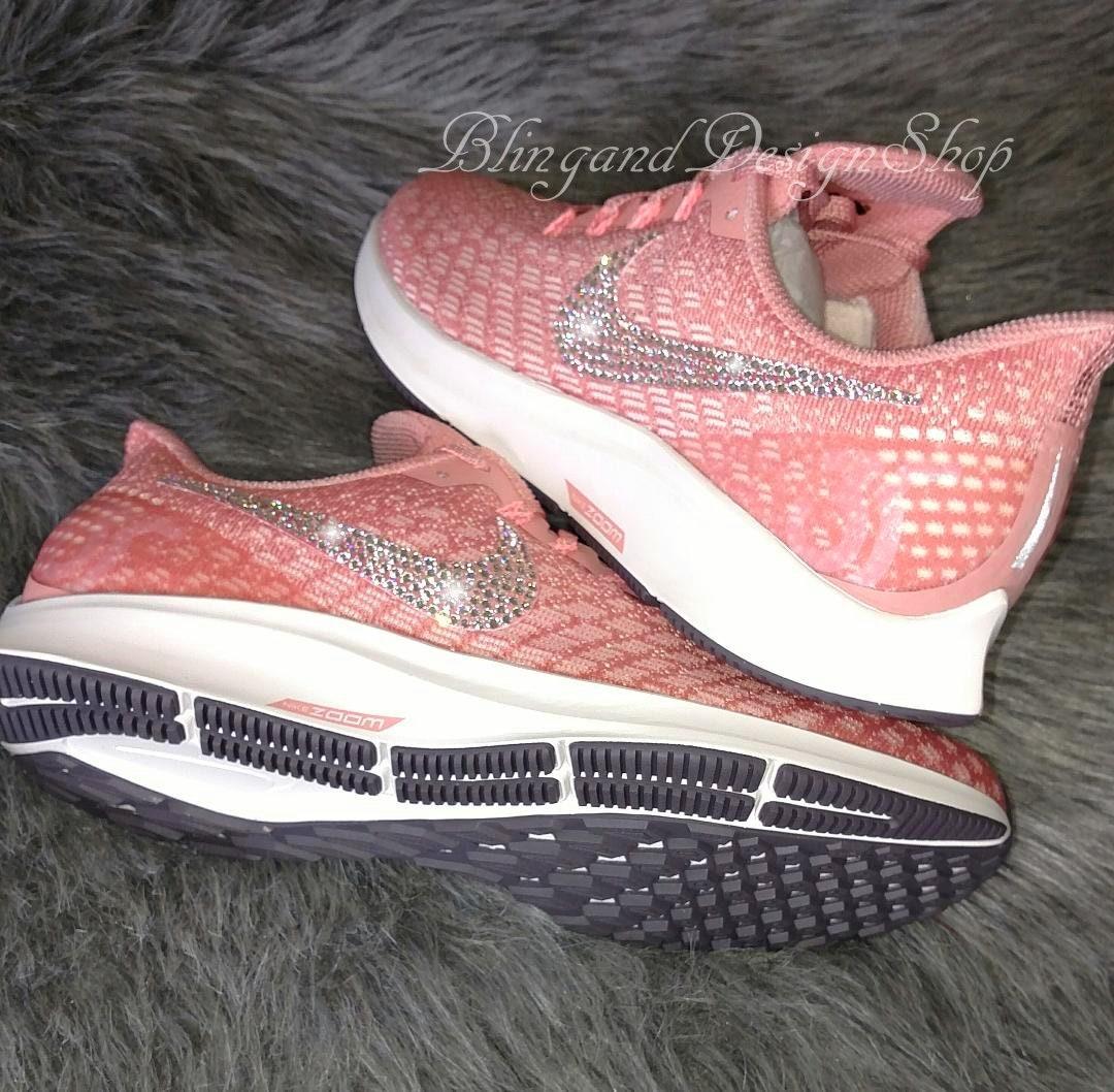 4991e25f8860 Swarovski Bling Nike Women s Air Zoom Pegasus 35 Shoes with Crystal ...