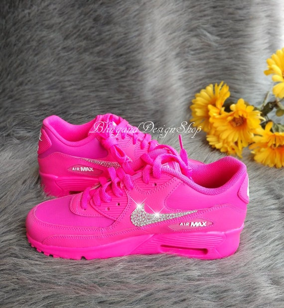 Swarovski Girls Nike Air Max 90 All Pink Sneakers Customized with Swarovski Crystals Custom Bling Nike Shoes