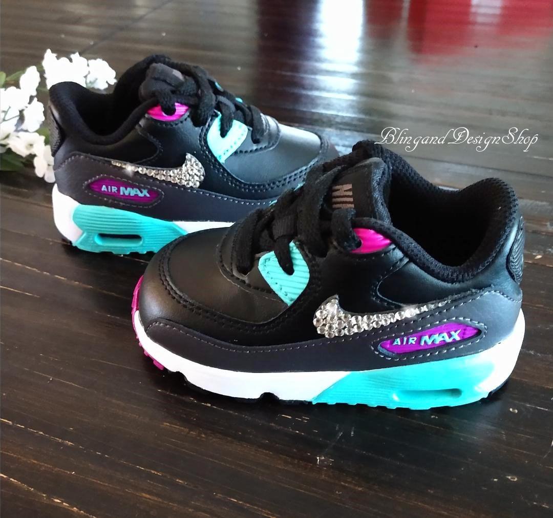 Swarovski Girls Baby Nike Air Max 90 Black Teal Sneakers ...