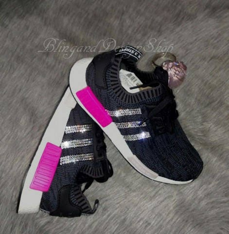 Swarovski Bling Adidas NMD XR1 Primeknit Pink Black Women s Adidas Shoes  Customized with Swarovski Crystal Rhinestones 088034045