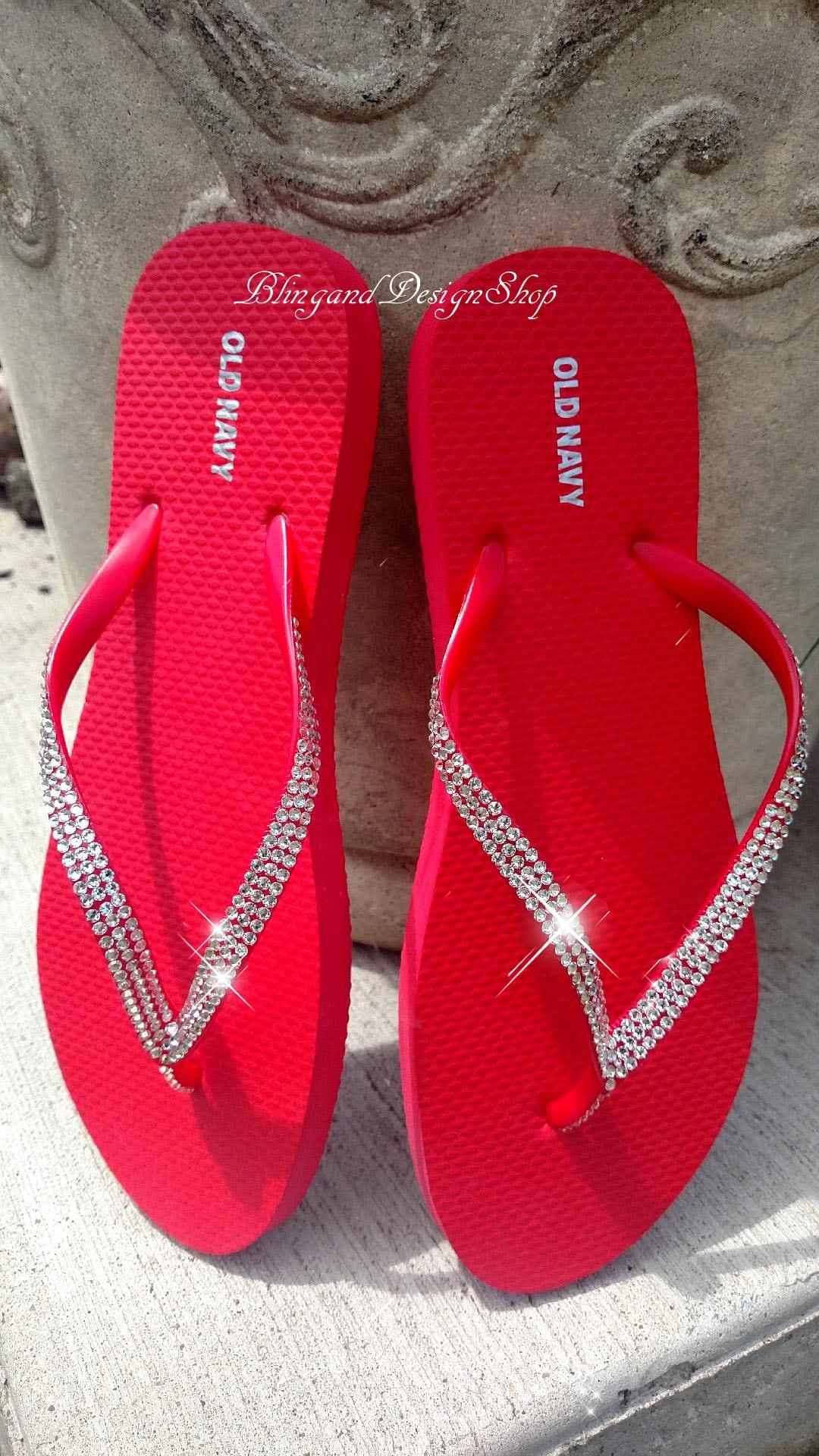 46ebf09300dc2 Swarovski Womens Sandals Flip Flops Customized with Swarovski Crystals,  Beach Sandals, Bridal shoes Bling nike shoes